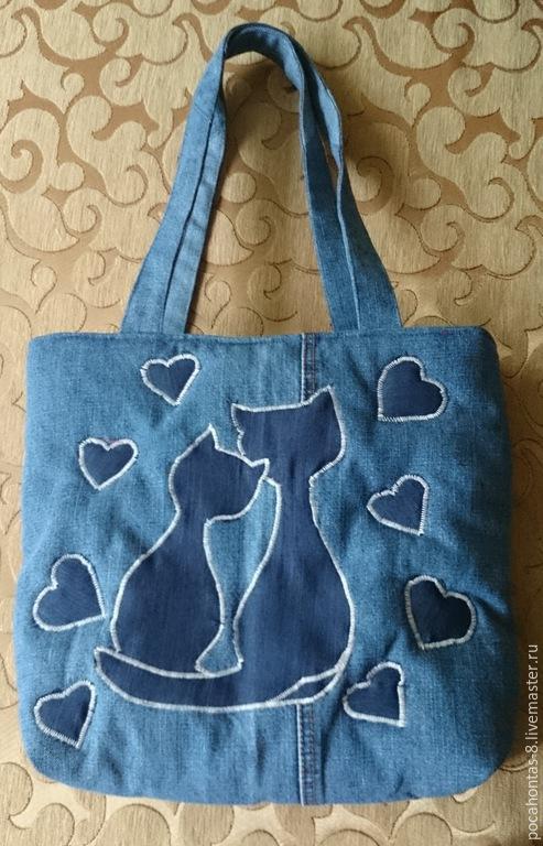 Женские сумки ручной работы. Ярмарка Мастеров - ручная работа. Купить Сумка джинсовая с котами. Handmade. Тёмно-синий, хлопок