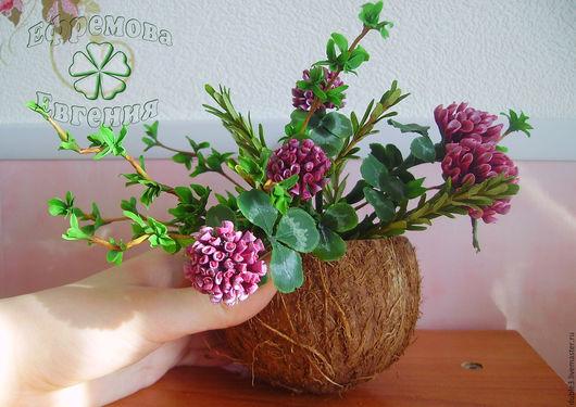 Искусственные растения ручной работы. Ярмарка Мастеров - ручная работа. Купить Букет из полимерной глины тимьяна, розмарина и клевера. Handmade.