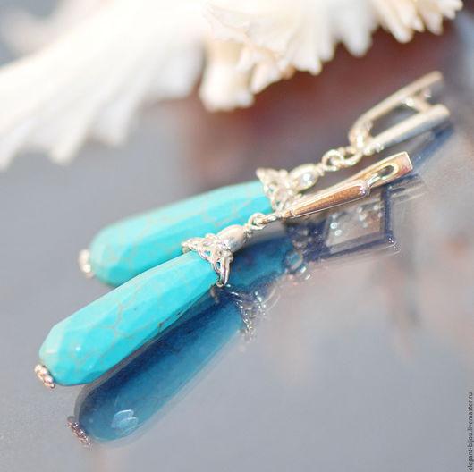 бирюзовые серьги; серьги с бирюзовым камнем; серьги бирюзового цвета; бирюзовые серьги купить; голубые серьги купить; бирюза в серебре; купить подарок девушке; купить подарок женщине