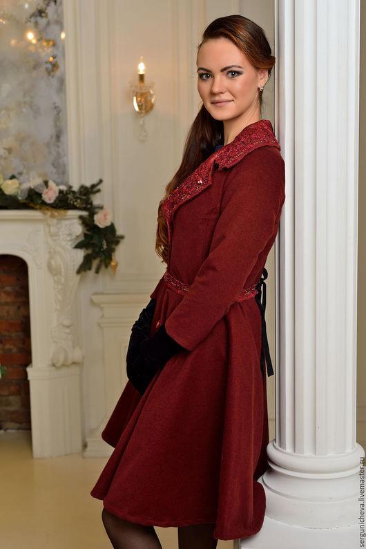 """Верхняя одежда ручной работы. Ярмарка Мастеров - ручная работа. Купить Пальто""""Royal Marsala"""". Handmade. Марсала, стильное пальто, полусолнце"""