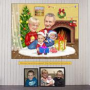 Сувениры и подарки handmade. Livemaster - original item A gift to grandparents for the new year. Christmas cartoon by the fireplace. Handmade.