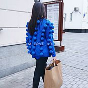 Одежда ручной работы. Ярмарка Мастеров - ручная работа Кардиган с объемными шариками синий. Handmade.