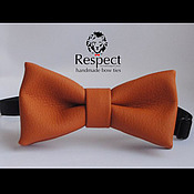 Аксессуары handmade. Livemaster - original item Tie Ginger / bright red, orange butterfly-tie leatherette. Handmade.