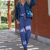 Одежда ручной работы. Ярмарка Мастеров - ручная работа Кашемировый костюм на молнии с капюшоном Синий. Handmade.