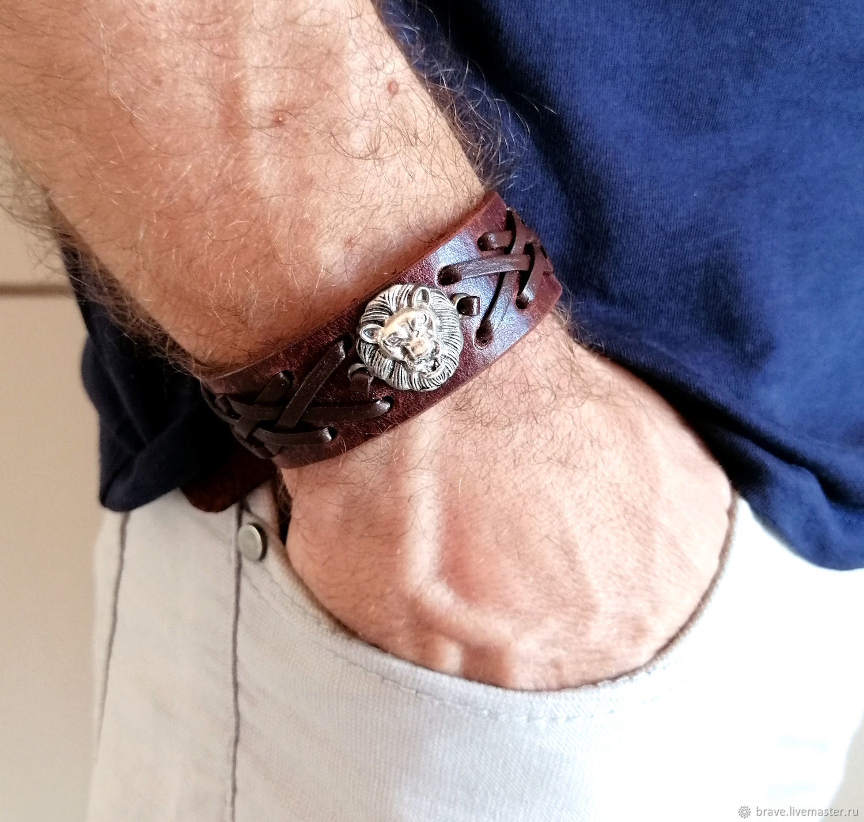 Leather bracelet with lion unisex, Hard bracelet, Moscow,  Фото №1