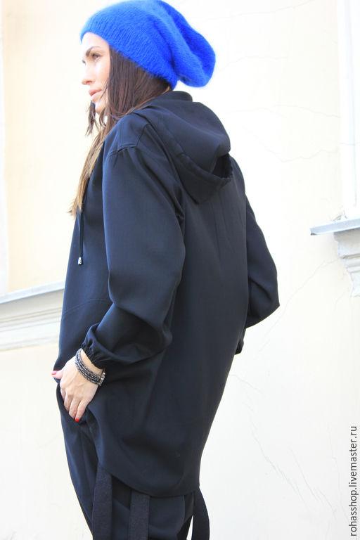 R00037 Блейзер из шерсти блуза с капюшоном стильная одежда парка черная толстовка кофта из шерсти черная кофта черная блуза свободная блуза свободный стиль