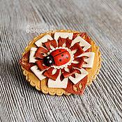 Украшения handmade. Livemaster - original item Brooch made of birch bark carved