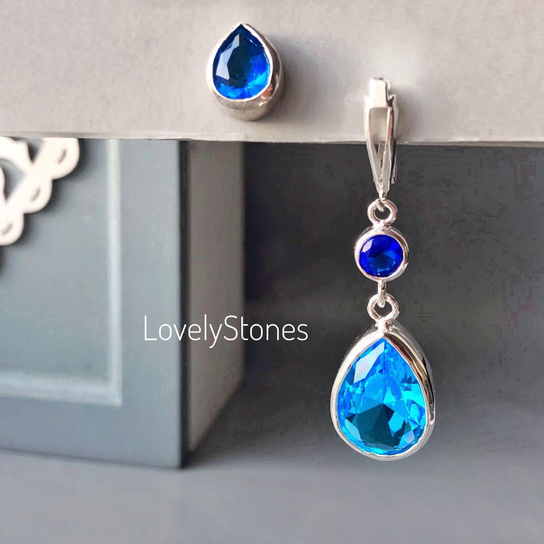 Asymmetrical earrings with teardrop blue Topaz-silver, Earrings, Yaroslavl,  Фото №1