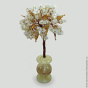 Цветы и флористика handmade. Livemaster - original item Tree of happiness from a moonstone in a vase of onyx. Handmade.