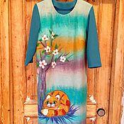 Одежда ручной работы. Ярмарка Мастеров - ручная работа Солнечный Кот платье валяное, трикотажное. Handmade.