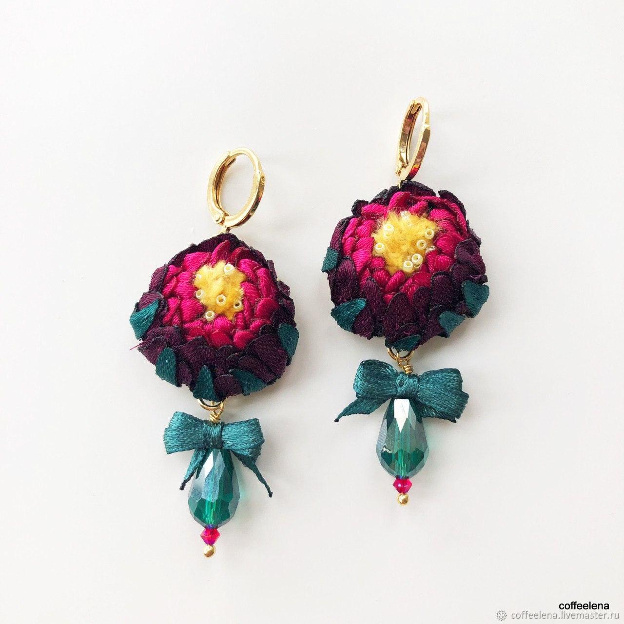 Peony earrings flower Earrings, Earrings, Krasnodar,  Фото №1