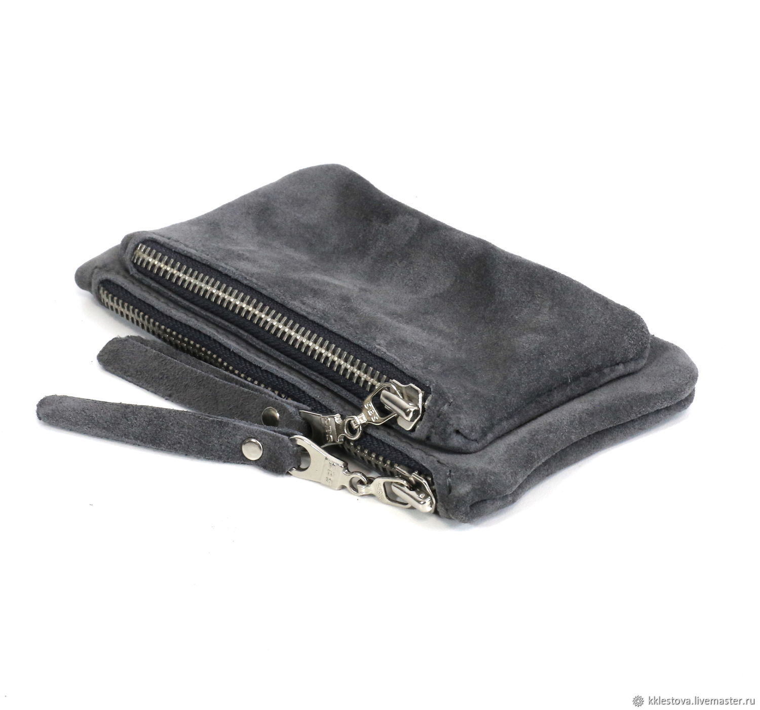 Double grey suede Wallet Pocket cosmetic Bag organizer Clutch leather, Wallets, Moscow,  Фото №1