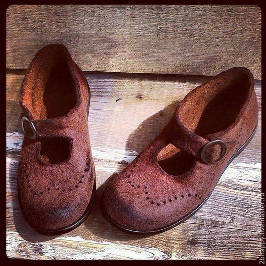 Обувь ручной работы. Ярмарка Мастеров - ручная работа. Купить Валяные туфли Rise & Shine. Handmade. Коричневый
