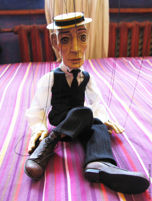 Коллекционные куклы ручной работы. Ярмарка Мастеров - ручная работа. Купить Марионетка Бастера Китона. Handmade. Марионетка, кукла на нитях