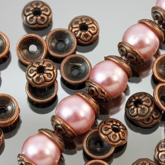 Шапочки для бусин в тибетском стиле с медным покрытием комплектами по 20 штук для сборки украшений