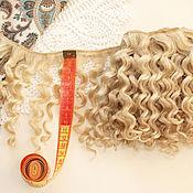 Материалы для творчества ручной работы. Ярмарка Мастеров - ручная работа Трессы мохер для кукол (блонд) 1 метр. Handmade.