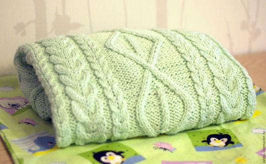"""Пледы и одеяла ручной работы. Ярмарка Мастеров - ручная работа. Купить Плед детский """"Акварелька"""". Handmade. Мятный, подарок новорожденному"""