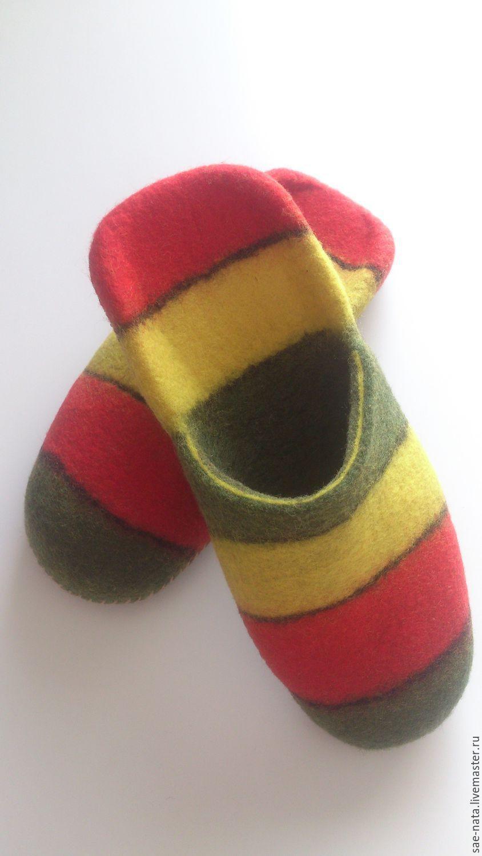 Felted Slippers for men. Handmade. Sneaker bright.