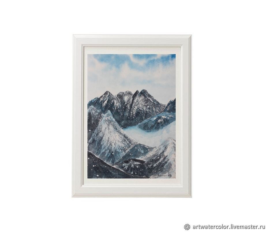 Watercolor Snow mountains, Pictures, Moscow,  Фото №1
