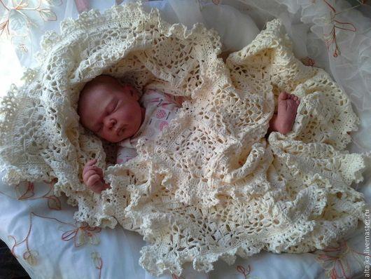 Пледы и одеяла ручной работы. Ярмарка Мастеров - ручная работа. Купить Плед для новорожденного. Handmade. Бежевый, одеяло на выписку