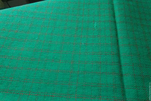 Шитье ручной работы. Ярмарка Мастеров - ручная работа. Купить Шерсть ткань зеленая в клетку. Винтаж.. Handmade. Зеленый, в клетку