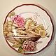"""Тарелки ручной работы. Ярмарка Мастеров - ручная работа. Купить Роспись фарфора.Тарелка """" Горошек и розы """". Handmade."""