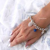 Украшения handmade. Livemaster - original item Blue sea bracelet with blue lapis lazuli pendants, white agate. Handmade.