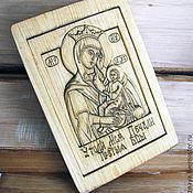 Картины и панно ручной работы. Ярмарка Мастеров - ручная работа Икона резная «Матерь Божия «Утоли мои печали». Handmade.