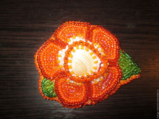 Брошь - цветочек (оранж)