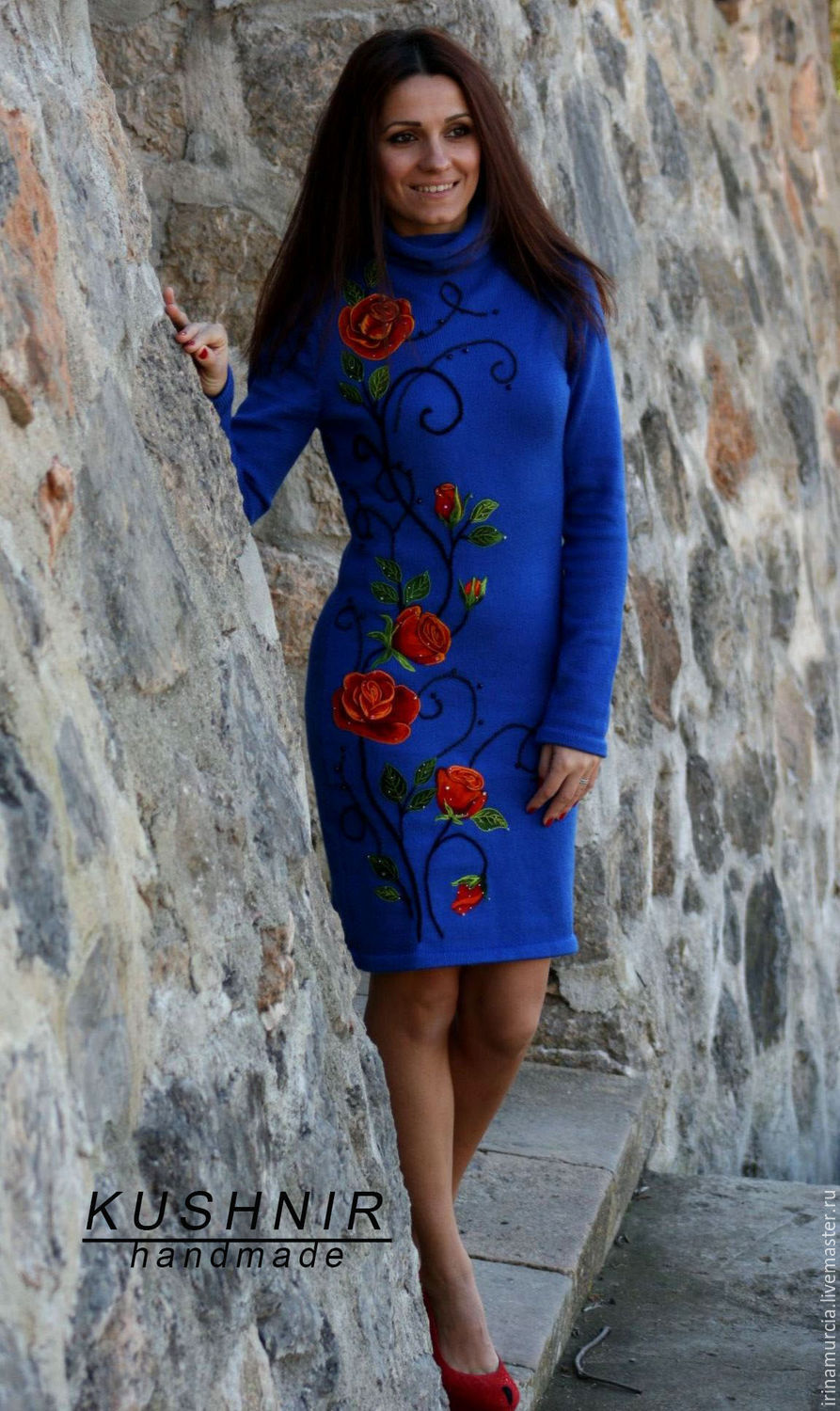 Blue winter knitted wool dress with rose embroidery, Dresses, Murcia,  Фото №1