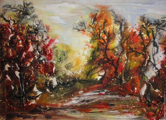Пейзаж ручной работы. Ярмарка Мастеров - ручная работа. Купить Осенний лес. Абстрактный пейзаж. Смешанная техника.. Handmade. Осень
