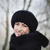 Аксессуары handmade. Livemaster - original item Hat knitted women lapel black. Handmade.