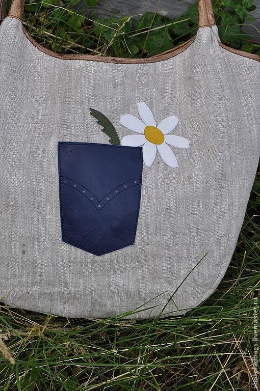 b0846de2c9b Ветюгова Юлия ( Женские сумки ручной работы. Льняная сумка с кожей