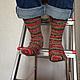 Носки, Чулки ручной работы. Носки вязаные Christmas. Pentu ручное вязание. Ярмарка Мастеров. Носки вязаные спицами, в полоску