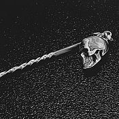 Украшения handmade. Livemaster - original item Brooch-needle. Skull and horns. Handmade.