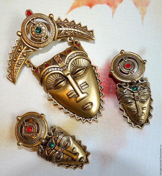 Винтажные украшения. Ярмарка Мастеров - ручная работа. Купить Винтажный сет African Mask от Avon. Handmade. Золотой, african mask