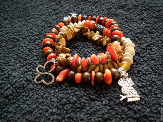 Браслеты ручной работы. Ярмарка Мастеров - ручная работа. Купить Экстравагантный браслет из камней и деревянных бусин / IVgvn6. Handmade.