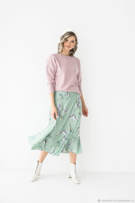 Armani silk Cranes skirt, satin skirt, oblique skirt, Skirts, Novosibirsk,  Фото №1