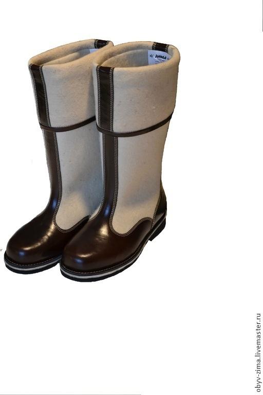 Обувь ручной работы. Ярмарка Мастеров - ручная работа. Купить Бурки генеральские темные. Handmade. Белый, войлок