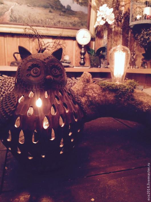 """Освещение ручной работы. Ярмарка Мастеров - ручная работа. Купить Настольная лампа """"Тётушка Совунья"""". Handmade. Коричневый, глина, ночник"""