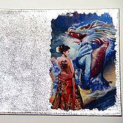 """Канцелярские товары ручной работы. Ярмарка Мастеров - ручная работа Кожаная обложка для паспорта """"Голубой дракон"""". Handmade."""