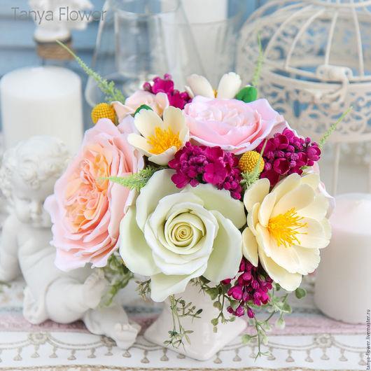 Букеты ручной работы. Ярмарка Мастеров - ручная работа. Купить Букет цветов с пионовидными розами и сиренью. Handmade. Цветы
