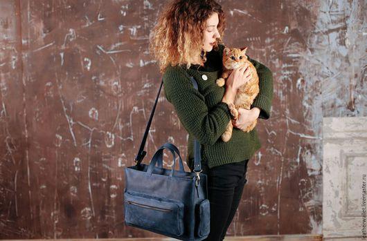 Женские сумки ручной работы. Ярмарка Мастеров - ручная работа. Купить Сумка из натуральной кожи. Handmade. Тёмно-синий