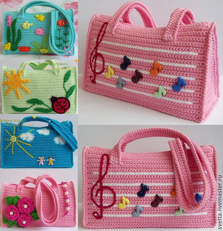 Вязание спицами сумочки для девочки 69