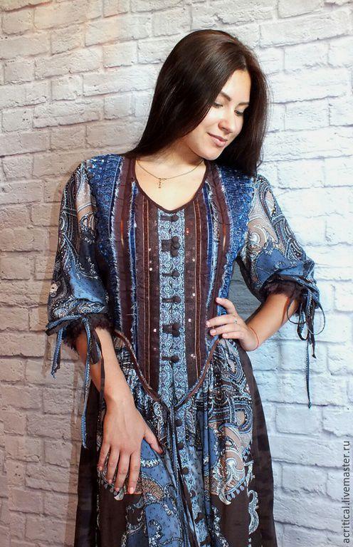 3ee66fc2c64 Dresses handmade. Livemaster - handmade. Buy Boho-dress  Chocolate blue .