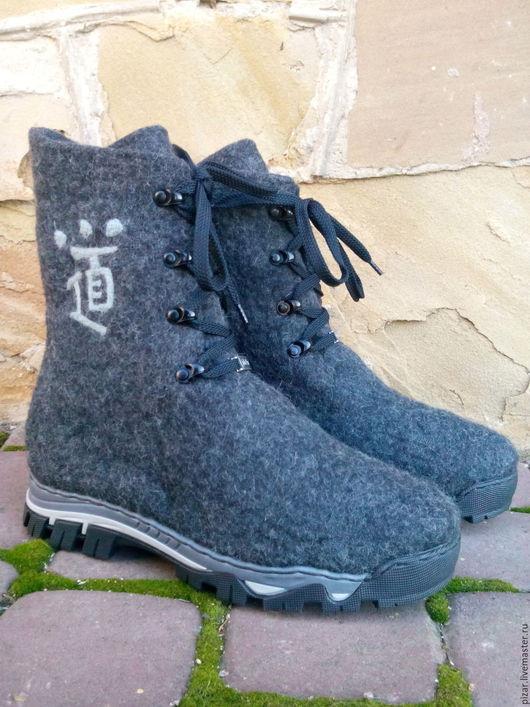 """Обувь ручной работы. Ярмарка Мастеров - ручная работа. Купить Мужские ботинки """"Путь"""". Handmade. Темно-серый, ботинки валяные"""