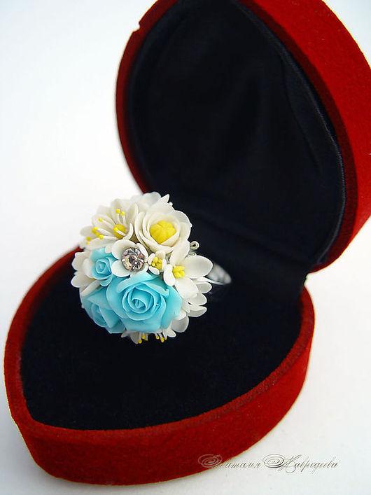 """Кольца ручной работы. Ярмарка Мастеров - ручная работа. Купить Кольцо """"Мария Антуанетта"""".Цветы из полимерной глины. Handmade. Бирюзовый"""