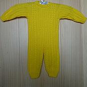 "Работы для детей, handmade. Livemaster - original item Yellow overall for the kid with a pattern ""bundles"". Handmade."