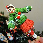 Куклы и игрушки ручной работы. Ярмарка Мастеров - ручная работа Сашенька - ватная елочная игрушка. Handmade.
