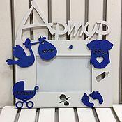 Подарки к праздникам ручной работы. Ярмарка Мастеров - ручная работа Фоторамка, метрика для новорождённых. Handmade.